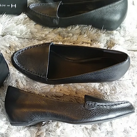 NEW H by Halston leather KELLIE wedge loafer BLACK e8ee0ac4d3f70